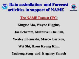 Data assimilation  and Forecast activities in support of NAME