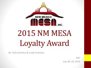 2015 NM MESA Loyalty Award