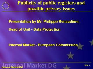Publicity of public registers and possible privacy issues