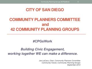 City of san Diego Community  Planners Committee  and 42  Community Planning  Groups