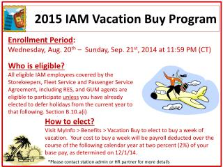 2015 IAM Vacation Buy Program