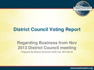 District Council Voting Report