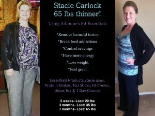 Stacie Carlock 65 lbs thinner!    Using Arbonne�s Fit Essentials *Remove harmful toxins