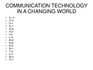 COMMUNICATION TECHNOLOGY IN A CHANGING WORLD