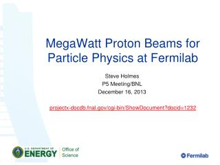 MegaWatt  Proton Beams for Particle Physics at Fermilab