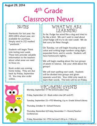 4 th  Grade Classroom News