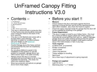 UnFramed Canopy Fitting Instructions V3.0