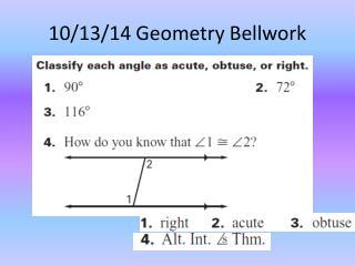 10/13/14 Geometry  Bellwork