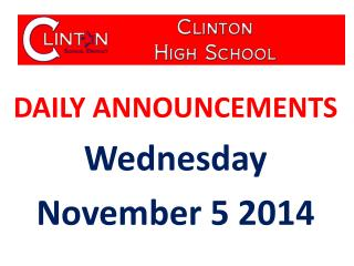 DAILY ANNOUNCEMENTS Wednesday November  5  2014