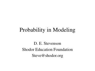 Probability in Modeling