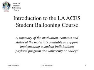 Introduction to the LA ACES Student Ballooning Course