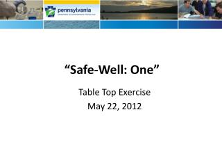 """Safe-Well: One"""