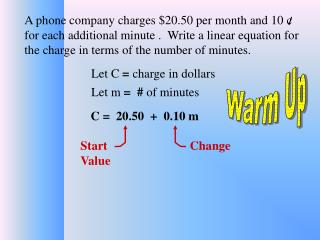 Let C  =  charge in dollars
