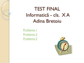 TEST FINAL  Informatic ă  - cls.   X  A Adina Bretoiu