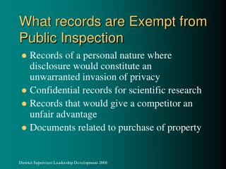 What records are Exempt from Public Inspection