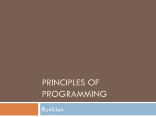 Principles of Programming