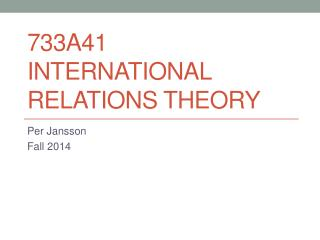 733A41 International relations  theory