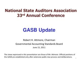 National State Auditors Association 33 rd  Annual Conference
