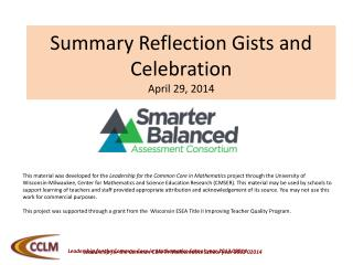 Summary Reflection  Gists  and Celebration April 29, 2014