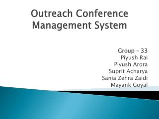 Outreach Conference Management System
