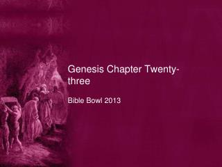 Genesis Chapter Twenty-three