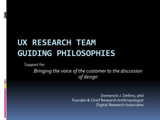UX Research Team Guiding Philosophies