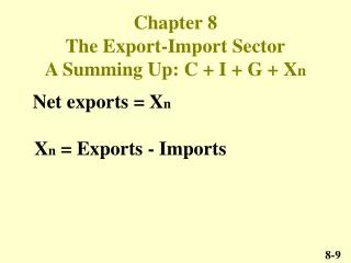 Chapter 8  The Export-Import Sector A Summing Up: C + I + G + X n