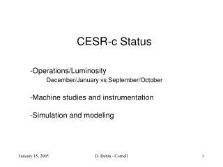 CESR-c Status