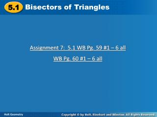 Bisectors of Triangles