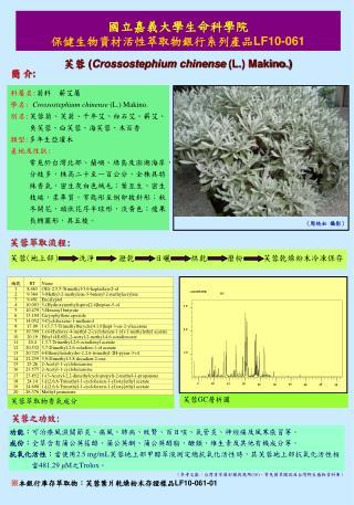 國立嘉義大學生命科學院 保健生物資材活性萃取物銀行系列產品 LF10-061