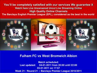 Fulham FC vs West Bromwich Albion LIVE STREAM ONLINE TV SHOW