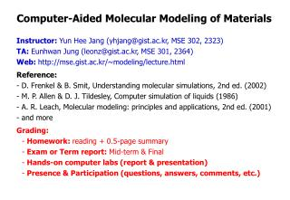 Computer-Aided Molecular Modeling of Materials