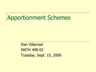 Apportionment Schemes