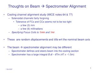 Thoughts on Beam  ? Spectrometer Alignment