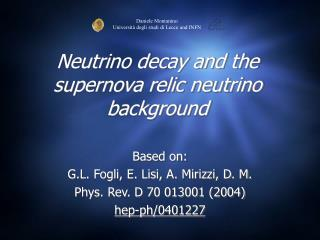Neutrino decay and the supernova relic neutrino background