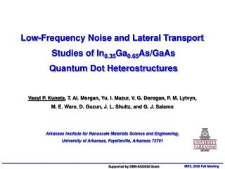 Low-Frequency Noise and Lateral Transport  Studies of In 0.35 Ga 0.65 As/GaAs