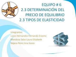 EQUIPO # 6 2.3 DETERMINACIÓN DEL PRECIO DE EQUILIBRIO 2.3 TIPOS DE ELASTICIDAD