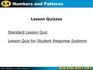 Standard Lesson Quiz