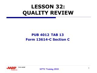 LESSON 32: QUALITY REVIEW