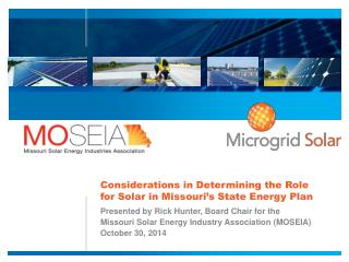 Considerations in Determining the Role for Solar in Missouri's State Energy Plan