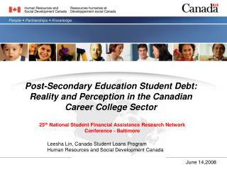 Post-Secondary Education Student Debt: Reality and Perception in the Canadian Career College Sector
