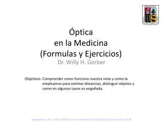 �ptica en la Medicina (Formulas y Ejercicios)