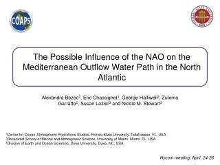 The Possible Influence of the NAO on the Mediterranean Outflow Water Path in the North Atlantic