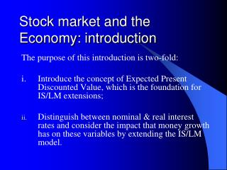 Stock market and the Economy: introduction