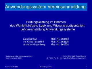 Anwendungssystem Vereinsanmeldung