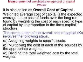 Measurement of  weighted average cost of capital WACC
