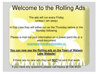 The ads will run every Friday (unless I am away)