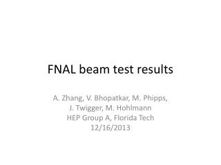 FNAL beam test results