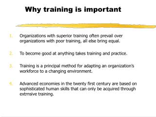 Why training is important