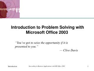 Introduction to Problem Solving with Microsoft Office 2003
